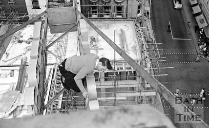 Don't look down! A view from the crane above Arlington House, Stall Street, Bath c.1960