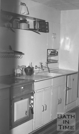 Inside a kitchen, thought to be inside Winscombe Road, Odd Down Bath, 25 January 1955