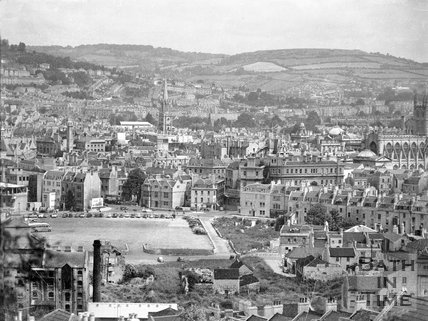 View of the Avon Street area of Bath from Beechen Cliff, c.1957