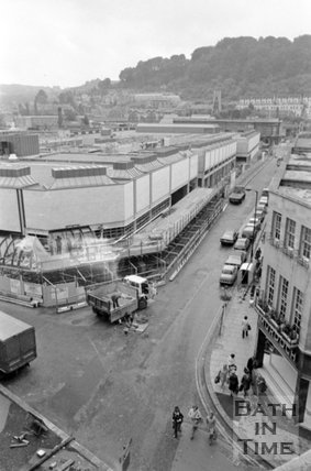 The newly completed Southgate Shopping Centre, Bath, 7 May 1973