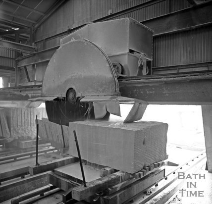 A huge stone cutting machine at Monks Park mine near Corsham, 20 September 1973