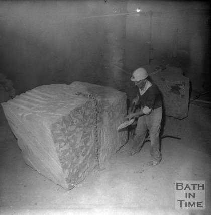 Working a block of Bath Stone underground at Monks Park mine, near Corsham, 20 September 1973
