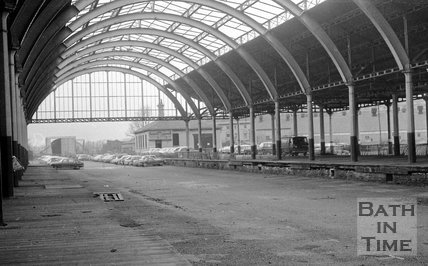Inside the derelict Green Park Station, Bath, 15 May 1974