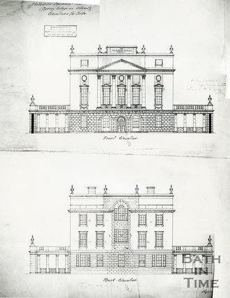 Front and rear elevations of the Holburne Museum, Bath, c.1911
