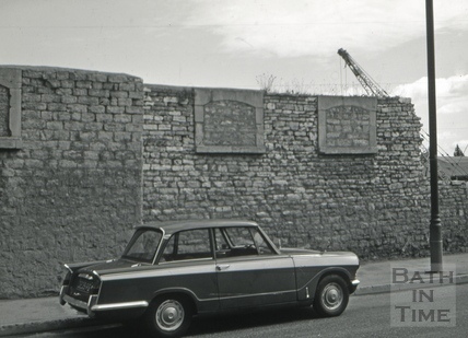 Malthouse wall, Lower Bristol Road, Bath 1966