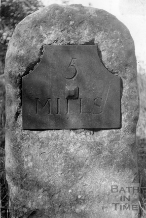 Five mile post, Somersetshire Coal Canal c.1951
