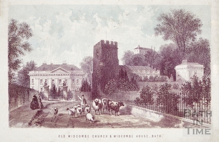 Old Widcombe Church and Widcombe House, Bath 1861