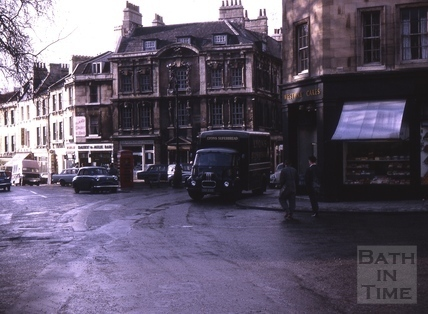 Marks of old tram line in Kingsmead Square, Bath 1964