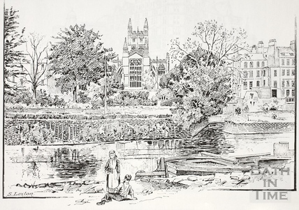 View from the river upstream from North Parade Bridge, Bath c.1890-1920