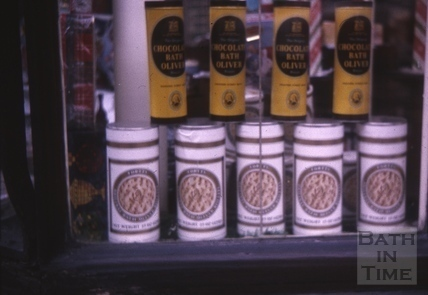 Bath made Oliver biscuits in Cater Stoffell & Fortt's window, High Street, Bath 1964