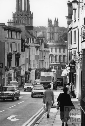 Broad Street, looking towards St. Michael's Church, Bath c.1985