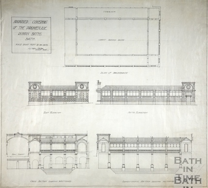 Proposed covering of the Promenade, Roman Baths, Bath c.1920