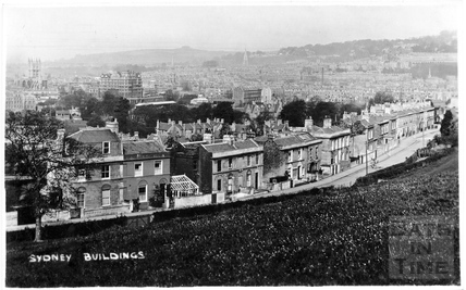 Sydney Buildings, Bath viewed from the field opposite c.1905