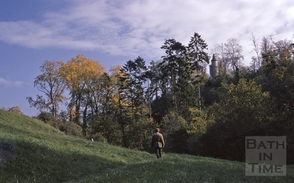 Walking towards the folly, Midford Castle 1968
