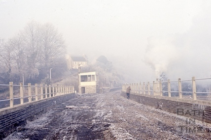 The abandoned signal box and viaduct, Midford Station 1967