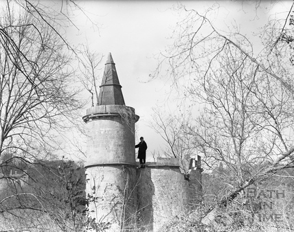 The folly in the private grounds of Midford Castle c.1965