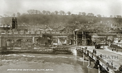 View across the Old Bridge to Beechen Cliff, Bath 1939