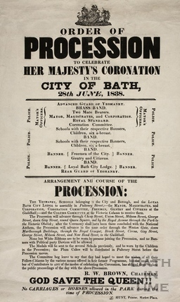 Order of procession to celebrate Her Majesty's Coronation, Bath 1838