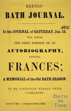 The First Portion of an Autobiography entitled Frances advertisement, Bath 1856