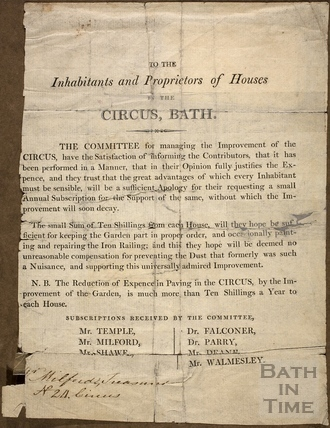 To the Inhabitants and Proprietors of Houses in the Circus, Bath