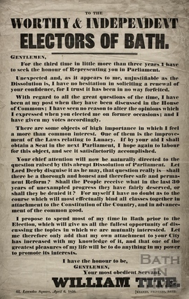 To the Worthy & Independent Electors of Bath 1859