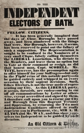To the Independent Electors of Bath c.1859