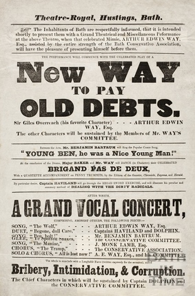 New way to pay old debts. Theatre Royal, hustings, Bath 1859