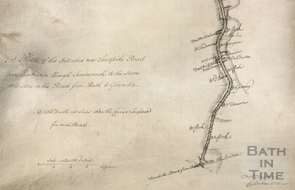 Plan of the intended new turnpike road from Lambridge, Bath through Swainswick 1774 - detail