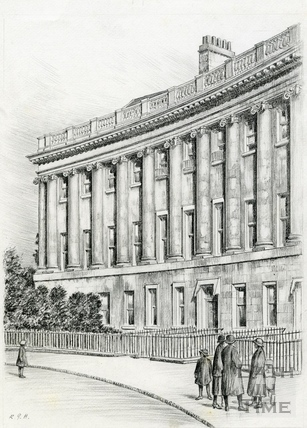 Detail of the western end of the Royal Crescent, Bath 1939