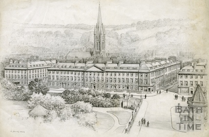 View of North Parade and Institution Gardens, Bath 1939