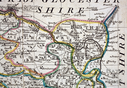 The Bath area from an Improved Map of the County of Somerset c.1740 - detail