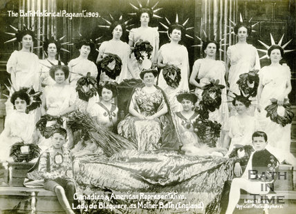 The Bath Historical Pageant. Canadian & American Representative. Lady de Blaquiere as Mother Bath (England) 1909