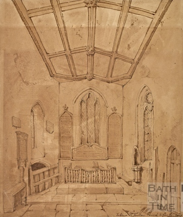 Interior of the chapel of St. Julian's Church, Wellow c.1850