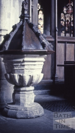 Old font, Bath Abbey, Bath 1963