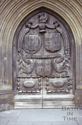 West door, Bath Abbey, Bath 1975