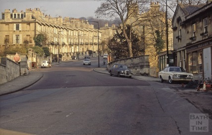 Bathwick Hill looking towards Dunsford Place, Bath 1972