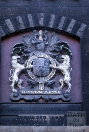 Detail of coat of arms over doorway, Bellott's Almshouses, Beau Street, Bath 1965