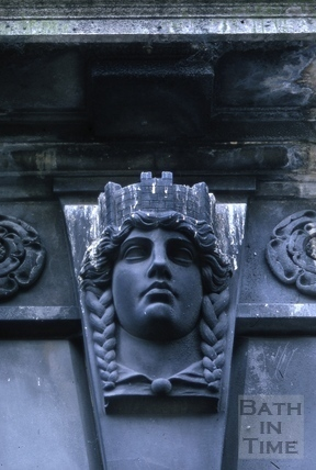 Keystone above the door of the library, Bridge Street, Bath 1966