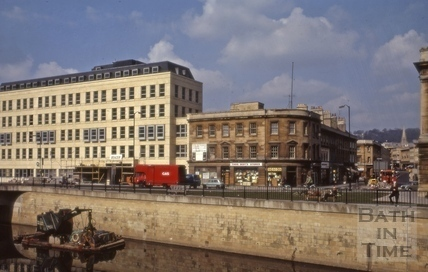 Broad Quay and corner of Southgate Street, Bath 1973