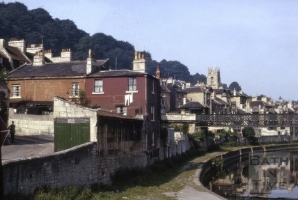 Riverside path and 2 & 3, Alma Cottages, Widcombe, Bath 1965