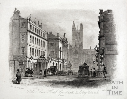 The White Lion Hotel, Guildhall and Abbey Church, High Street, Bath 1850