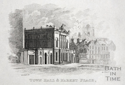 Town Hall (Guildhall) and Market Place, Bath 1821