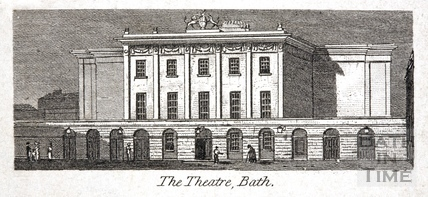 The Theatre Royal from Beauford Square, Bath 1824