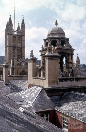 Abbey from the Guildhall roof, High Street, Bath 1970