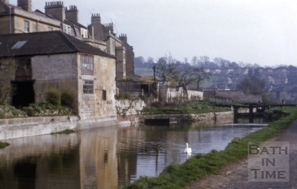 The top lock on the Kennet and Avon Canal, Widcombe Bath 1957