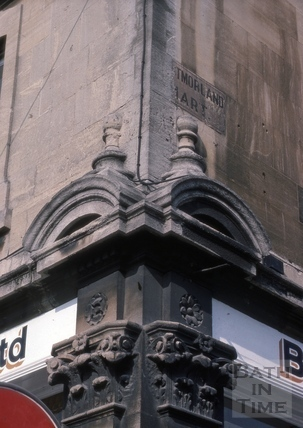 Corner detail of Cheltenham Street and 65, Lower Bristol Road (1, Westmoreland Mart), Bath 1975