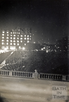 View of the Empire Hotel at night, Bath 1945