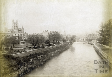 Bath Abbey and River Avon from North Parade Bridge, Bath 1889