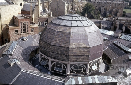 Guildhall Market from the Guildhall roof, Bath 1970