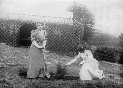 Suffragette Georgina Brackenbury busy planting tree with her sister Marie Brackenbury 1909